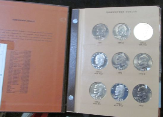 1971-78 Complete Set of Eisenhower Dollars in a World Coin Library Album.  Includes all the Silver i