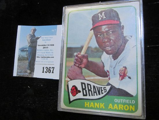 1965 Topps # 170 Hank Aaron Baseball Card in a hard plastic case. Never been graded.