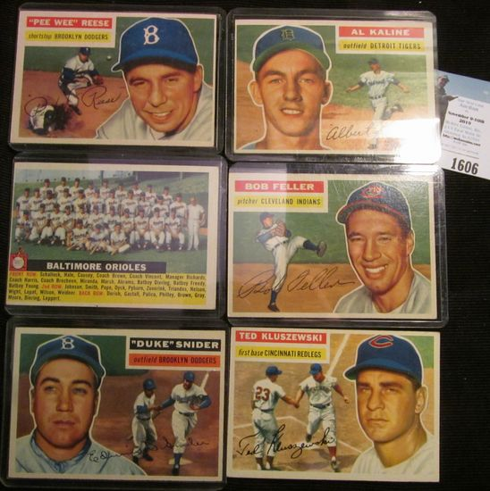 Group of (6) High value Baseball Cards from the Fifties: Al Kaline, Duke Snider, Ted Kluseewski, Bob