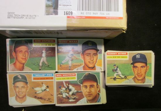 Box containing a Partial Set of 1956 Topps Baseball Cards. More than 100 cards.