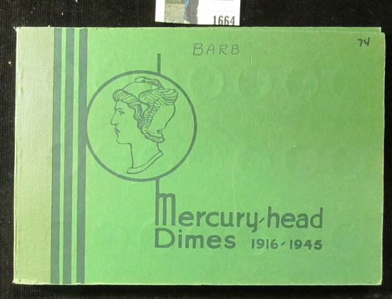 1916-45 S Partial Set of Mercury Dimes in an antique Popular Album by Wayte Raymond. (74 pcs.).