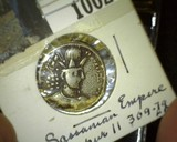Silver Sassanian Empire Drachm of Shapur II 309-79 A.D. Melchener 78-79 variety, Two people at altar