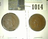 1873 & 1875 Indian Head Cents, both Good++.