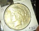 1927 D U.S. Silver Peace Dollar. Super nice.