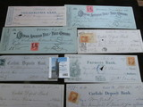 A large group of Old U.S. Bank Checks with several dating back to the Civil War Period. Many with st