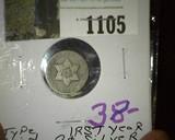 1851 U.S. Three Cent Silver.