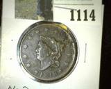 1818 U.S. Large Cent, Newcomb # 3, R-3, EF details.