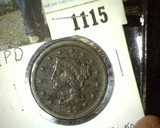 1844/4 U.S. Large Cent, possible Breen 1884. VF.
