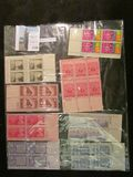 (8) various Plate blocks of Mint U.S. Stamps.