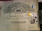 Am interesting group of Foreign Coins, Tokens, and Medals as well as a 1914 Diploma from