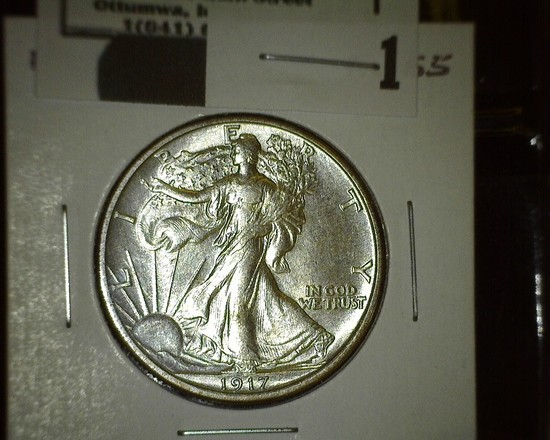 1917 P Walking Liberty Half Dollar, flashy.