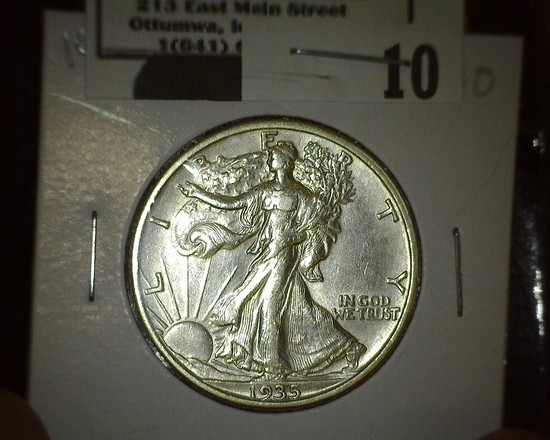 1935 S Walking Liberty Half Dollar, high grade.