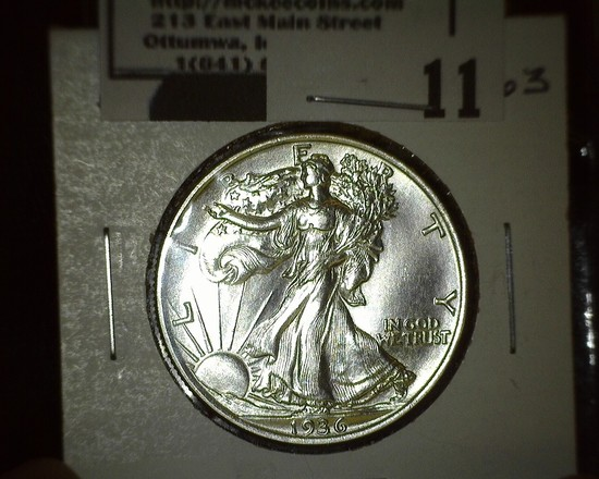1936 P Walking Liberty Half Dollar, Super Brilliant.