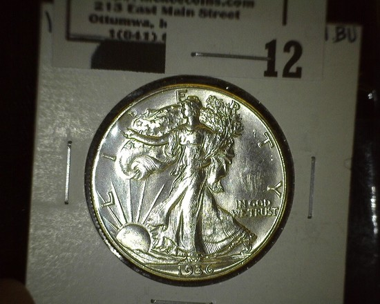 1936 D Walking Liberty Half Dollar, Super Brilliant.