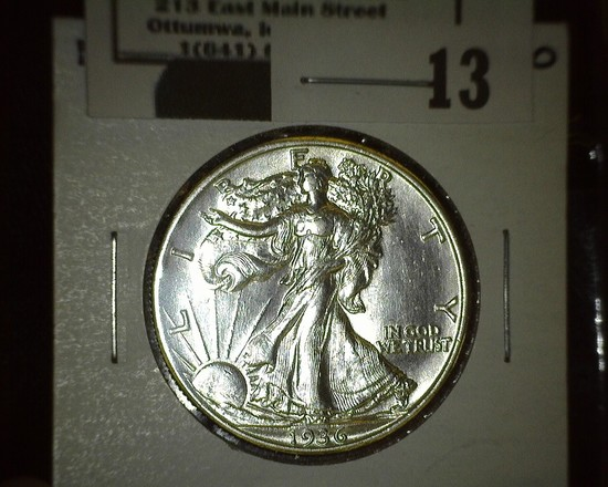 1936 S Walking Liberty Half Dollar, high grade.
