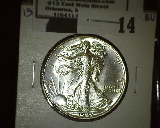 1937 P Walking Liberty Half Dollar, Super Brilliant.