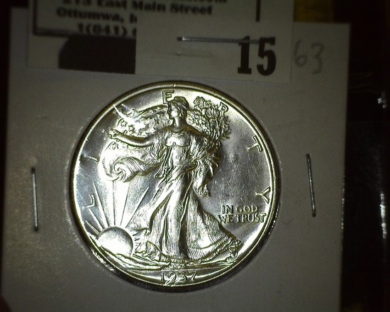 1937 D Walking Liberty Half Dollar, Super Brilliant.