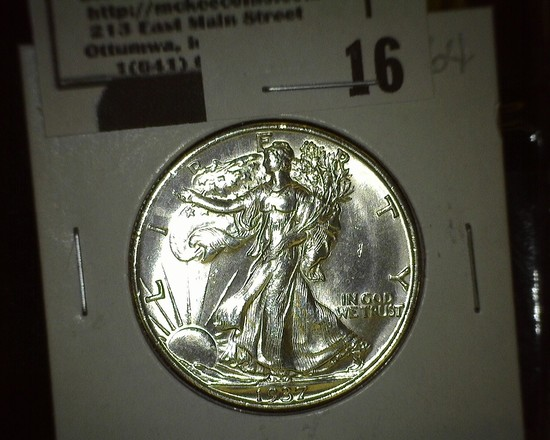 1937 S Walking Liberty Half Dollar, Super Brilliant.