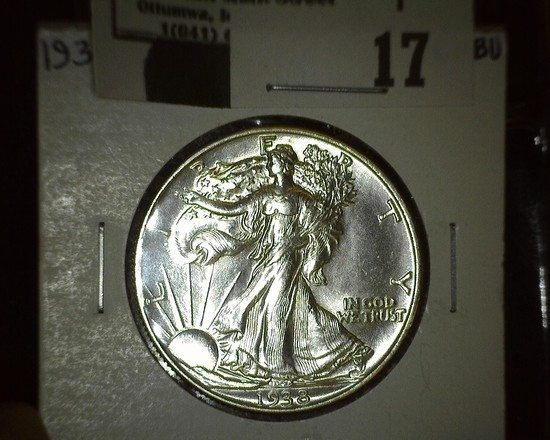 1938 P Walking Liberty Half Dollar, Super Brilliant.