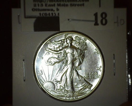 1938 D Walking Liberty Half Dollar, Super Key Date! Flashy!