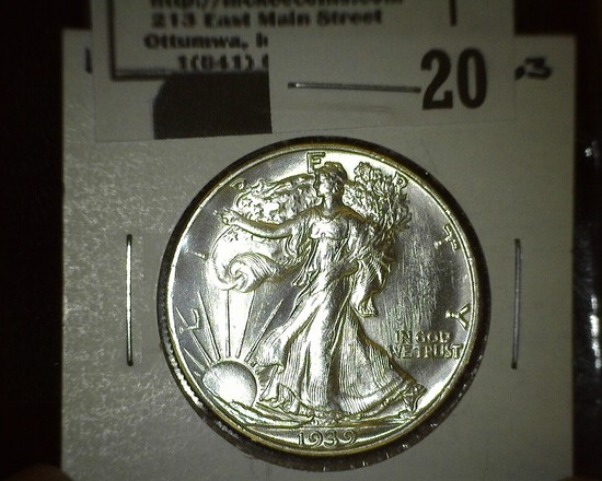 1939 D Walking Liberty Half Dollar, Super Brilliant.