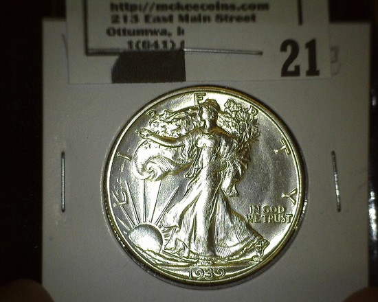 1939 S Walking Liberty Half Dollar, Super Brilliant.