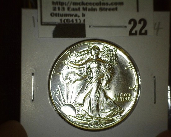 1940 P Walking Liberty Half Dollar, Super Brilliant.