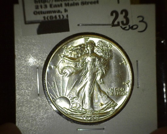 1940 S Walking Liberty Half Dollar, Brilliant Uncirculated.