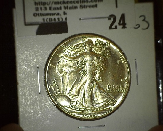 1941 P Walking Liberty Half Dollar, Super Brilliant.