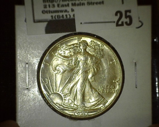 1941 D Walking Liberty Half Dollar, Brilliant Uncirculated.