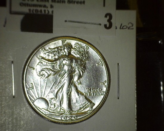 1929 P Walking Liberty Half Dollar, flashy.