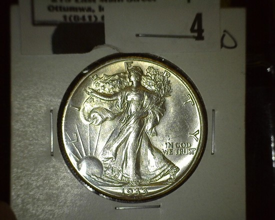 1933 S Walking Liberty Half Dollar, Super Brilliant.