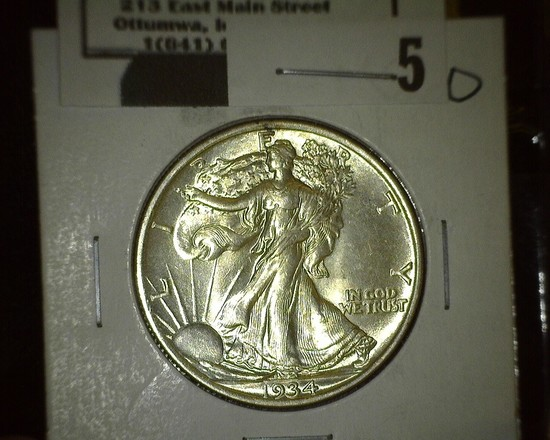 1934 P Walking Liberty Half Dollar, Super Brilliant.