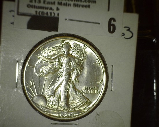 1934 D Walking Liberty Half Dollar, Super Brilliant.
