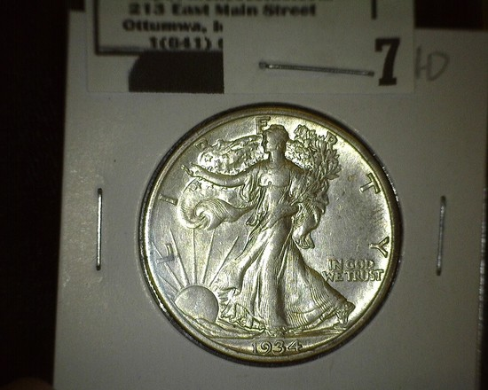 1934 S Walking Liberty Half Dollar, high grade.