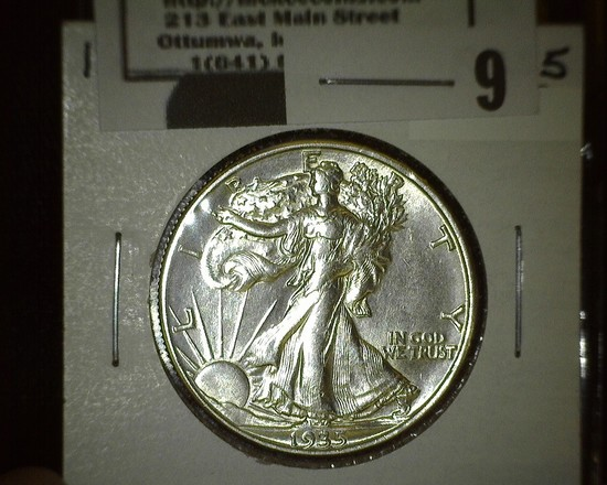 1935 D Walking Liberty Half Dollar, flashy.