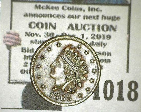 High Grade 1863 Civil War Token - Not One Cent F-87/356-A