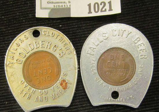 (2)  Encased Good Luck Coins Include an Advertising Piece For Fall City Beer & Goldberg's Tailors An