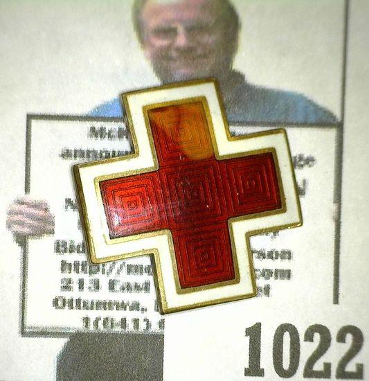 Enameled Sterling Silver Red Cross Pinback