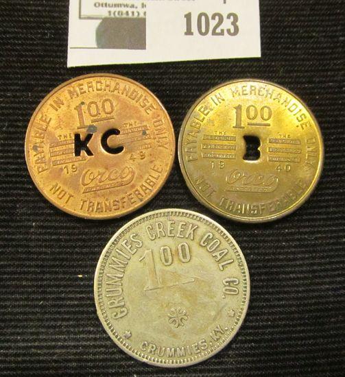 Coal Scrip Lot: Includes a One Dollar Piece From Crummies Creek Coal Company, Dollar Piece From The