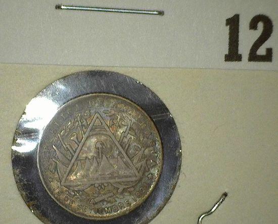 1887 H Nicaragua Five Cent Silver, Y7, EF.