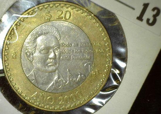 2000 Mexico 20 Peso, Bi-metal. BU.