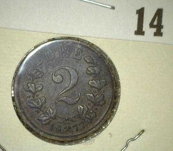 1877 Norway Copper Two Ore, Y20, EF.