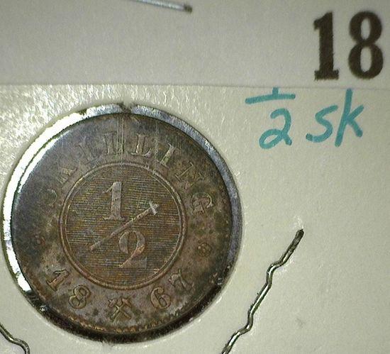 1867 Norway Copper Half-Skilling, Y2, EF.