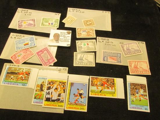 Liberia Mint Rare Stamps, Scott #298-99, C53, C68-69, 368-70, C114-117, 27, 28, & 820-25.