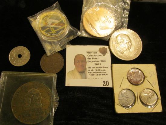 1943 P, D, S Steel Cent Three-piece Set; 1843-1968 Ottumwa Territorial Centennial Medal; 1972 Denmar