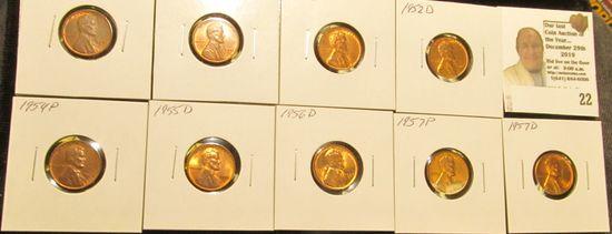 1949P, 51P, D, 52D, 54P, 55D, 56D, 57P, & D High Grade Lincoln Cent Group.