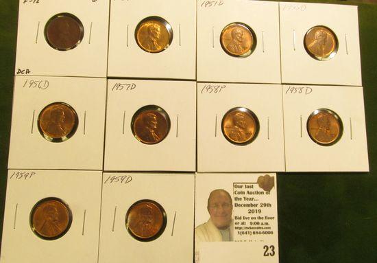 1909 P Fine & 1951P, D, 55D, 56D, 57D, 58P, D, 59P, & D High Grade Lincoln Cents.