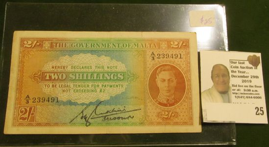 """""""The Government of Malta Two Shillings... Legal Tender"""" uniface Note. Rare."""