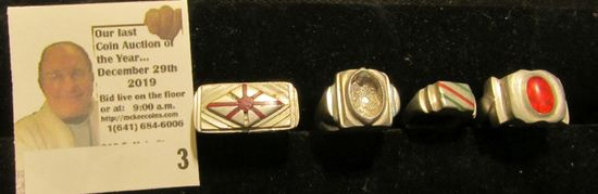 (4) Different Rings brought back from Japan by a World War II Veteran, made from Aircraft Aluminum.